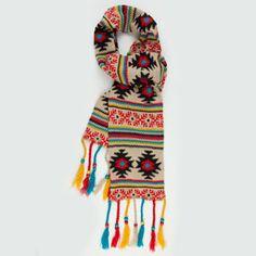 tan tribal intarsia knit scarf with beaded tassels
