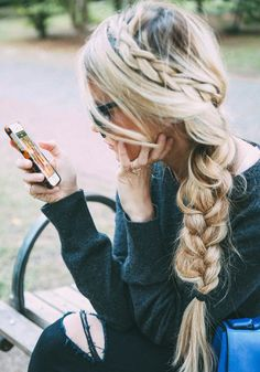 French Braided Hair Idea,braid crown with side braid at the end, daily, leisure and lovely