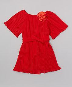 Look at this #zulilyfind! Red Floral Crepe Dress - Toddler & Girls #zulilyfinds