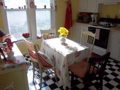 vintage red and yellow kitchen