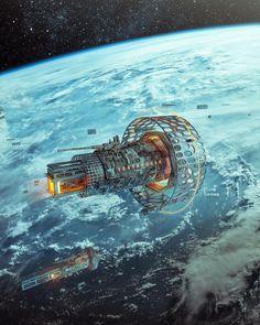 's take: Dock (Art or Repost by: ) - - Spaceship Art, Spaceship Design, Science Fiction Art, Pulp Fiction, Futuristic Art, Sci Fi Fantasy, Sci Fi Art, Photo Canvas, Concept Art