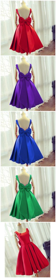 cute bow back satin dresses! #short prom dress #shorthomecoming dress #women's fashion #cocktail dress #short prom gowns #redparty dress #birthdayoutfit #prom dress 2017 #graduation dress #ball gowns #bridesmaid dress #wedding party dress #royalblue dress #juniors dresses #bowdresses