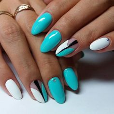 Mint, white and black almond nail design