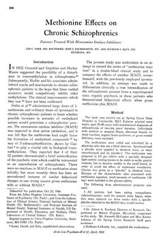 Methionine & Schizophrenia