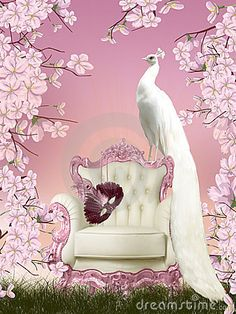 Illustration with white peacock sitting on the chair in the fairy garden