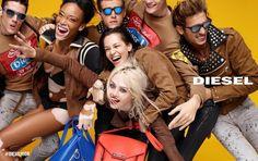 Diesel launches its campaign embracing tolerance, equality and unconditional love with Charlotte Free, Kiko Mizuhara, Winnie Harlow, Gryphon O'Shea & Surren Senevirate. Jeans Diesel, Fashion Advertising, Advertising Campaign, Julia Roberts, Kanye West, Vitiligo Model, Chantelle Brown Young, Model Winnie Harlow, Kim Kardashian