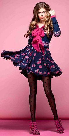 Fabulush Fashion Friday: Doll Hair & Pretty Polka Dots in Alannah Hill A/W Frock Dress, Doll Hair, Black Tights, Navy Pink, Pretty Hairstyles, Fasion, Frocks, Girl Fashion, Fashion Ideas