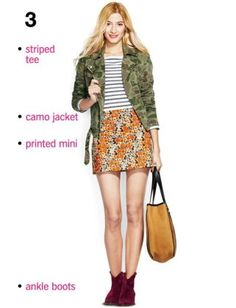 Striped shirt, printed skirt.  Get Dressed In 5 Minutes : Lucky Magazine
