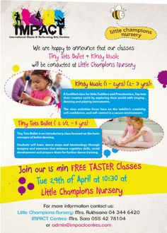 Grab your dancing shoes and be sure not to miss our free TESTER class TODAY with the students of Little Champions Nursery, with Kindy Music & Tiny Tots Ballet!  See you there!  #impact #dance #littlechamps #dancingshoes
