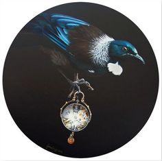 Entering the Now - by artist Jane Crisp. ( New Zealand Tui bird) Art-prints… Tui Bird, New Zealand Art, Maori Art, Kiwiana, Paper Birds, Bird Artwork, Wall Art For Sale, Art Portfolio, Surreal Art