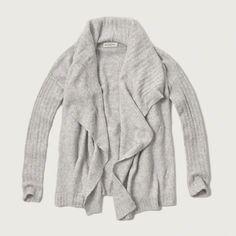 Textured Drapey Cardigan in light grey- medium