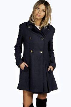 Sara Military Fit And Flare Coat at boohoo.com
