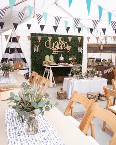 """Super cute """"wild"""" boho chic party is so much fun. Wild one birthday, bridal shower, birthday party or for any elegant celebration. - First Birthday Party Decor Ideas Bohemian Birthday Party, Wild One Birthday Party, 1st Boy Birthday, Boy Birthday Parties, Baby Party, Birthday Ideas, Birthday Table, Bohemian Party Theme, Simple 1st Birthday Party Boy"""