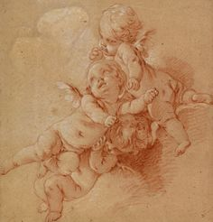 "Francois Boucher, ""Three Putti Among Clouds,"" ca. black, red, and white chalk on paper. Life Drawing, Figure Drawing, Drawing Reference, Trois Crayons, Art Hippie, Renaissance Kunst, Ceramic Angels, Grisaille, Anatomy Drawing"