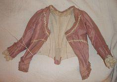 1780s 1790s Zone Front French Poult de Soie Mauve Pink 2 Piece Gown | eBay
