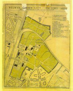 Lovely 1920s handdrawn map of Welwyn Garden City's green & pleasant industrial park. Shredded Wheat in pole position. via @daisyfroud