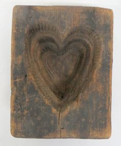 Primitive wooden heart shaped maple sugar mold ~♥~