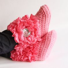 Pink Ruffle Infant Crochet Boots Ready to Ship by babybuttercup, $25.00