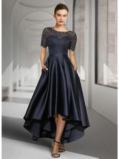 A-Line Mother of the Bride Dress Elegant Jewel Neck Asymmetrical Lace Satin Short Sleeve with Pleats 2021 / Illusion Sleeve 2021 - US $134.99 Vestidos Mob, Vestidos Vintage, Vintage Dresses, Custom Dresses, Mob Dresses, Plus Size Dresses, Dresses Online, Wedding Dresses, Wedding Guest Suits
