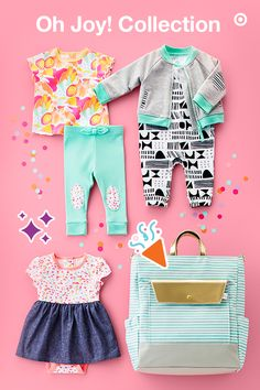 Cheerful, charming and only at Target, the limited-time- only Oh Joy! Baby collection features bold, vibrant colors and whimsical designs. You will find on-trend diaper bags available in tote, backpack and clutch styles, each with lots of pockets for tons of storage. Plus, you can even dress your little one in the most adorable gender-neutral outfits, sleep 'n plays and sets. Can you say Target Baby Registry must-haves? You bet.