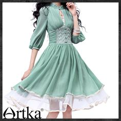 Artka Women's Slim Cut Delicate Lace Embroidery Three Quarter Sleeve Stand Collar Empire Cinched Waist Swing Hem Dress LA10730X