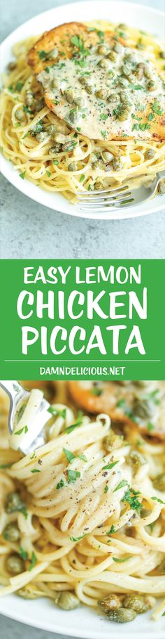 Easy Lemon Chicken Piccata - You won't believe how quick and simple this is with ingredients you already have on hand! Serve with pasta and you're set!