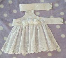 Medium White halter top dog dress.