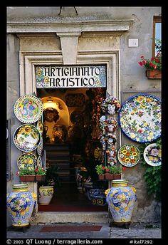 Doorway of the ceramic store. Orvieto, Umbria (color)