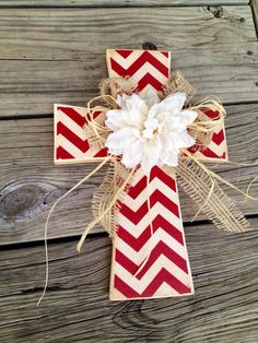 Red chevron wooden cross by LaciLoos on Etsy