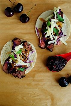 Steak Tacos with Chipotle Cherry Salsa | Iowa Girl Eats