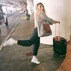 Travel outfit. Airplane style. Striped sweater, suit pants, high top white vans, Bric's suitcase, striped tote. #OOTD Fall winter #mrkate