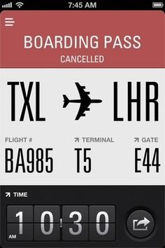 Bice looks - not sure about the Time. The switch from flat to skeuomorphic is a bit of a shock. Same with the Share ICON.  App Store - Flight Card