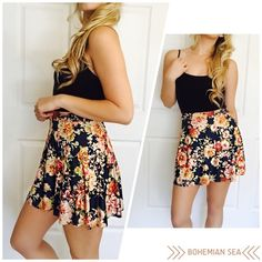 High Waisted Floral Skirt Sexy suede like material. One of my favs! So sexy and cute! Available in sizes S M L*** please do not purchase this listing, comment below with your size and I will make you a personal listing xo Bohemian Sea Skirts