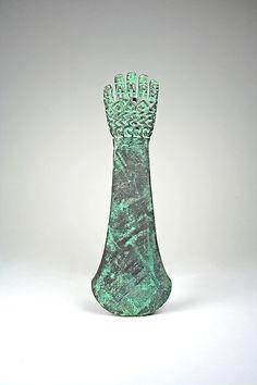 Knife, Hand, 1st-3rd C. Peru, Moche Culture. Cast copper, and gold.