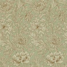 Chrystanthemum Toile har inspiration hämtad från matallickonturerna i den präglade och förgyllda Chrysanthemum-tapeten som producerades utav Jeffrey & Co. på 18