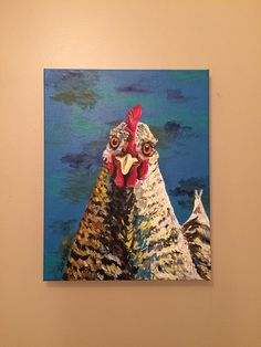 Chicken canvas art, rooster decor. Rooster on canvas.  Chicken print from original canvas painting.