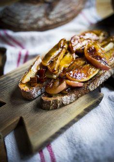 Warm Maple Glazed Apples on Toast
