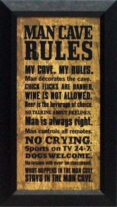 Artistic Reflections Man Cave Rules Framed Textual Art & Reviews | Wayfair