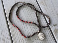 Red Coral and Wood Necklace with Ganesh Pendant by Stone and Stem  #tibetanjewelry  #boho #ganesh