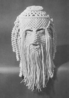 Macrame knotted mask