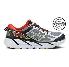Mens Hoka One One Clifton 2 Running Shoe.  Sz 9 1/2  Color grey and red/orange