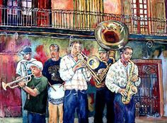 This painting was done a few years ago in one of my favorite places, New Orleans.  These boys played great jazz every day.