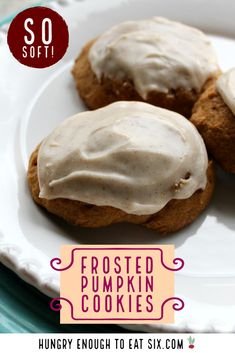 You're going to love these soft cookies full of pumpkin spice and topped with a sweet cinnamony glaze. At HungryEnoughToEatSix.com.