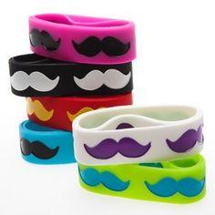 Amazon.com: 24 Mustache Bracelets - Assorted Wide Rubber Moustache Bracelets (2 Dozen): Toys & Games
