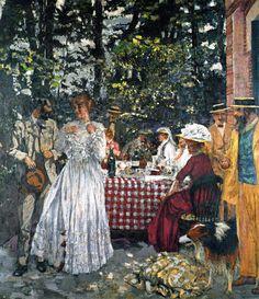 fleurdulys:  The Terrace at Vasouy: Luncheon - Edouard Vuillard 1901