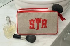 Leontine Linens Talley cosmetic case