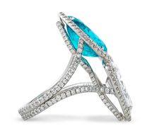 Estate Jewelry, Colored Gemstones, Paraiba Tourmaline and Diamond Ring Gemstone Jewelry, Diamond Jewelry, Tourmaline Jewelry, Gems Jewelry, Silver Hoop Earrings, Stud Earrings, Diy Jewelry Gifts, Sapphire Band, Wedding Rings Vintage