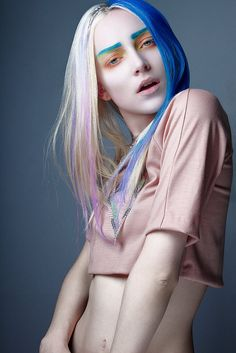 Blue makeup blue hair  Photography: Lara Jade  Model: Ollie Henderson at NEXT  Styling: Frankie Murray  Make Up: Leah Mabe