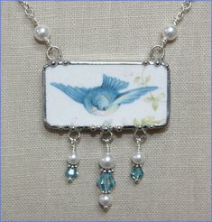 Broken China Jewelry FLYING BLUEBIRD with Pearls by robinsrelics, $62.00
