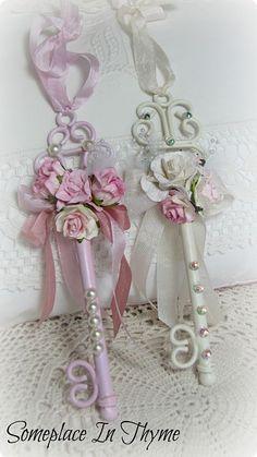 Shabby Key Ornaments-Christmas,ornaments,roses,pink,white,ribbon,gift,holiday,decoration,pearls,rhinestone,handmade,paper,